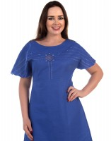 Linen blue dress with embroidery