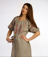 with Russian pattern Linen dress