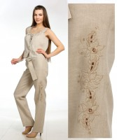 Linen pants with embroidery