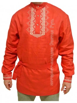 Red shirt with embroidery,  Holy Russia