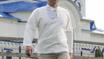 Kosovorotka, handmade, embroidery, 100% linen, Men`s shirt, Russian national shirt, webmoney