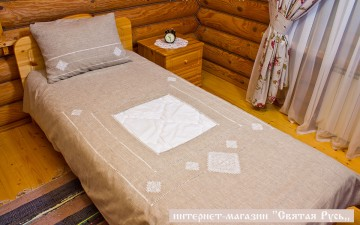 Bedclothes  linen with embroidery, Holy Russia
