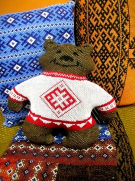 Knitted teddy bear, Holy Russia